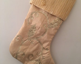 Gold Christmas Stocking Personalized With An Embroidered Name
