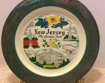 Vintage Souvenir Plate New Jersey Homer Laughlin USA Shabby Chic Country Kitchen Decor Collectible Plate