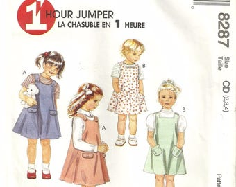 McCalls 8287 Vintage Girls 1 Hour Overall Racer Back Jumper Dress Sewing Pattern Size 2 Cute