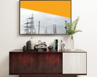 Abstract Print, Industrial Art, Abstract Photography, Minimal Orange and Grey Wall Decor - Orange Pylons