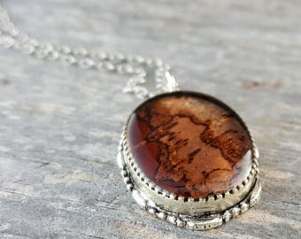 Brown Birch Bark Necklace - Nature Jewelry - Rustic Woodland Necklace - Real Birch Necklace