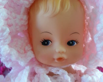 Baby doll in crochet fancy dress,