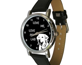 Love me, love my Lab design wristwatch - Ideal for Labrador Lovers - dog Gift - mens watch - womans watch