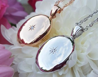 Solid 9ct White or Rose Gold Locket with a Solitaire Diamond MADE IN BRITAIN