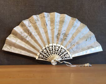 Jeans beige pink design, imitation mother-of-pearl, NAAC fan