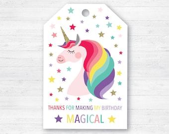 Unicorn Favor Tags - Unicorn Favour Tags - Printable Favour Tags - Unicorn Birthday Tags - Unicorn Thank You Tags