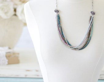 Multi Strand Necklace - Beaded Necklace - Layered Necklace - Necklace for Girlfriend - Best Friend Birthday Gift - Seed Bead Necklace