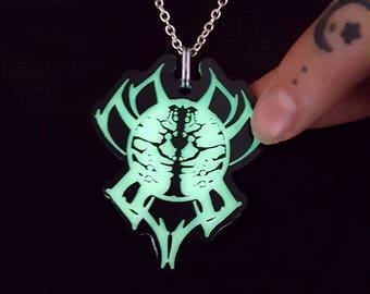 Glow In The Dark - Spider Pendant - Spider Jewelry - Spider Necklace - Gothic Pendant - Glowing Necklace - Etched Pendant - Occult Jewelry