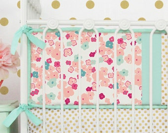 15% OFF SALE - Mini Floral Crib Bumpers | Peach and Mint Nursery
