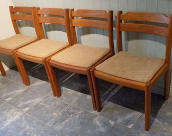 Four Scandinavian Teak Dining Chairs | Dyrlund of Denmark | Vintage Mid Century