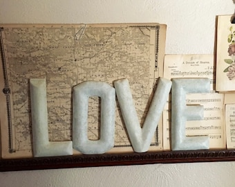 LOVE Letters Alphabet Farmhouse Style Wall Word Art Ivory White