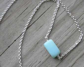 Blue Peruvian Opal Sterling necklace October birthstone