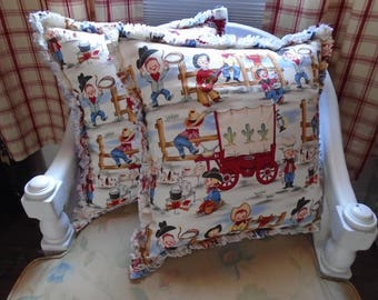 Cowboy Chuck Wagon Ragged Pillow Covers, Set of 2 great gift for Dad