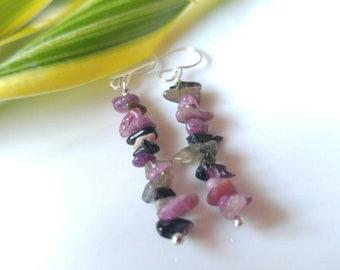 Bar earrings, Tourmaline Earrings, November birthstone, Crystal jewelry, handmade earrings, dangle earrings, quarts jewelry, gift