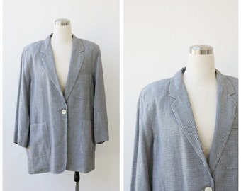 80's Plaid Blazer Oversized Jacket Womens Plaid Jacket Hounds Tooth Jacket Womens Blazer Oversize Jacket L XL Plaid Coat Light Wool Jacket