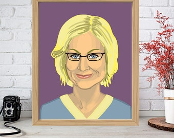 AMY POEHLER Print - Watercolor Poster Drawing Art - 30 Rock