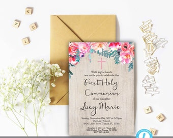 Communion invitation etsy floral first communion invitation girl girl first communion invitation template editable template solutioingenieria Images