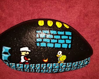 Super mario brothers fire hand painted river rock