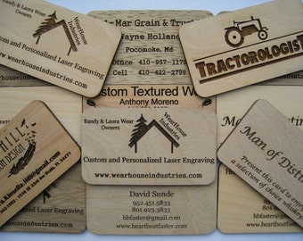 Custom Laser Engraved Birch Ply Business Cards  (set of 24)