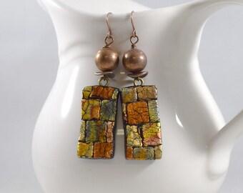 Metallic Copper Textured Polymer Clay Earrings, Copper Earrings, Artisan Earrings, Boho Earrings, Rectangle Earrings, Lightweight, E040