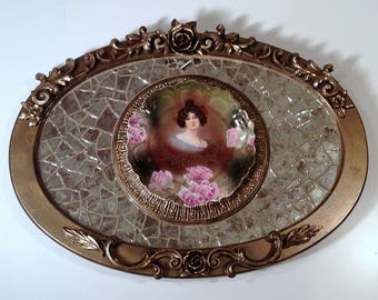 Oval mosaic wall decor, Vintage Victorian lady plate mosaic, mirror mosaic decor, original mosaic decor, artisan created, one of a kind,
