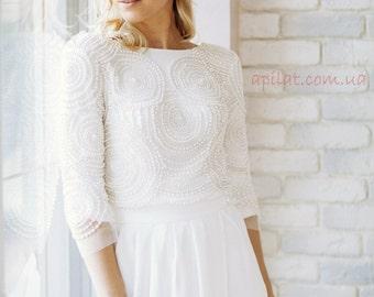 "Long  Wedding Dress with Handmade Pearls embellishments - ""Katie"", Romantic wedding gown, Classic bridal dress, Custom dress, Rustic gown"