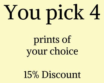 Four combined prints, You Pick 4, Gold Foil prints Home Decor