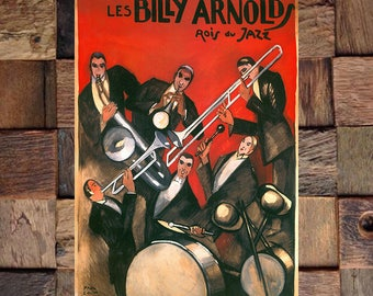 Billy Arnold Jazz Band Vintage Art, Vintage Jazz Ad, Music Ad, Orchestra Ad, Vintage Art, Giclee Art Print, fine Art Reproduction