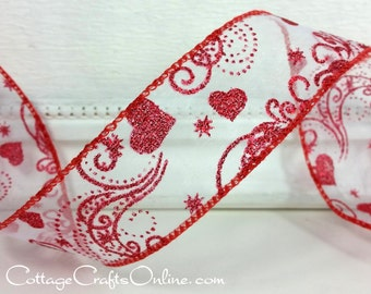 """Valentine Wired Ribbon, 1 1/2"""", Red Glitter Hearts on White Sheer - THREE YARDS - Offray """"Romeo"""" Valentine's Day Craft Wire Edged Ribbon"""