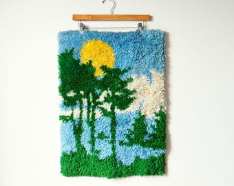 Forest Sunset Vintage Latch Hook Wall Hanging / Vintage Latch Hook Rug / Boho Cabin Rustic Nature Decor / Bohemian Home Forest Tapestry
