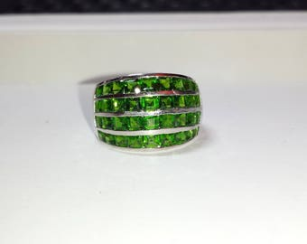 Chrome Diopside Sterling Silver Ring, Natural Gemstone Ring