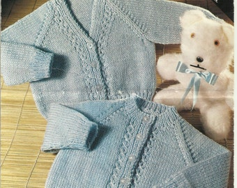 "PDF Villawool Knitting Pattern #L619, 5Ply, Sz 18-22""  Baby Toddler Jackets Cardigans"