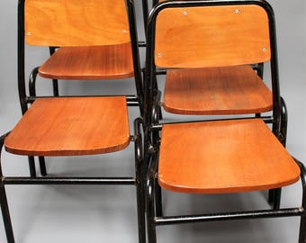 Set of Four Vintage Industrial School Factory Chairs