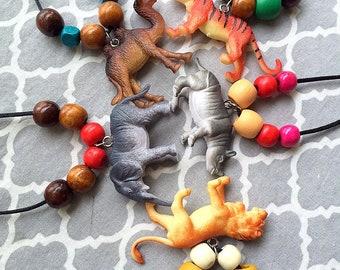 SET of THREE. Wild Animal necklace, Wild Animal birthday party favor, Wild Animal birthday party, kids birthday favor. 9 styles.