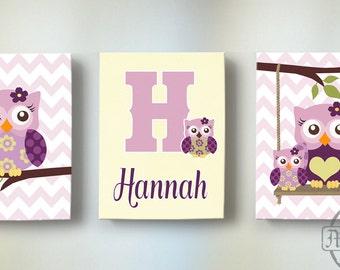 Plum Owl Meadow Baby Girl Nursery Art Set of Three Canvas Art Prints - Personalized Owl Wall Art - Baby Girl Nursery Art, Kids Wall Art