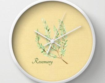 Rosemary Wall Clock, herb wall clock, kitchen clock, rustic clock, modern clock, wall clock, herb decor, rosemary clock, farmhouse clock