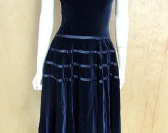 1950s Full Circle Skirt Black Velveteen with Ribbon dress by Junior Theme