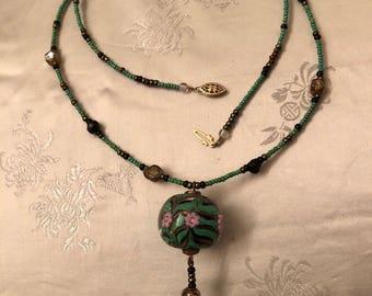 Handmade Artglass Beaded Necklace