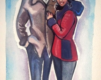 CUSTOM COUPLES PORTRAIT Watercolor Painting
