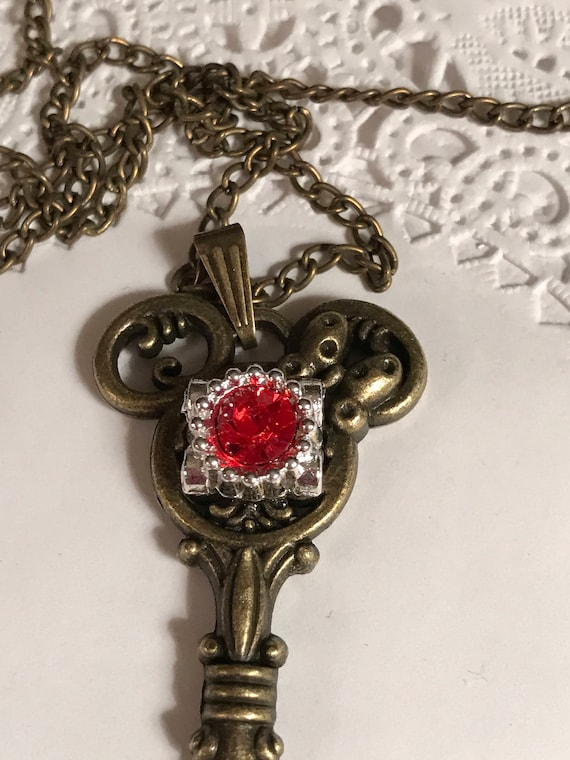 Mouse Ears Key to the Kingdom Key Necklace Steam Punk Jewelry Hidden Mickey-Red and Silver Tone