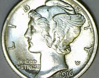 1916 Mercury Dime; Choice BU+; Frosty White!
