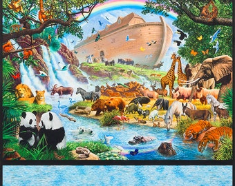 Noah' Ark Digitally Printed Fabric Panel by Steve Crisp of Inner Faith for Robert Kaufman