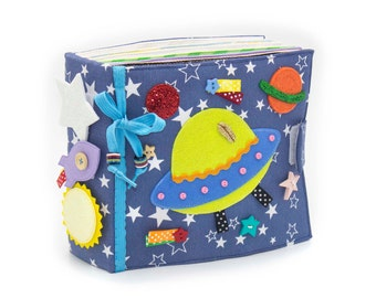 Children's Quiet busy book space Fine motor skills toys Toddler activity book for boy - 12 pages (1-4 year)