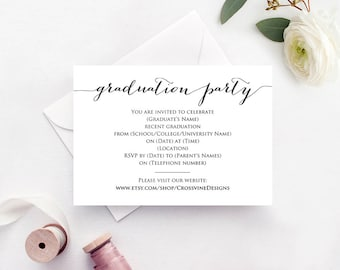 Grad Party Invite Etsy - Party invitation template: graduation party invitation postcard templates free