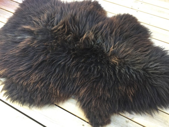 Real natural Sheepskin rug rugged throw from Norwegian norse breed medium locke length sheep skin broen golden 18081