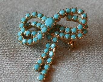 Beautiful turquoise rhinestone ribbon brooch