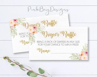 Floral Watercolor Diaper Raffle Ticket, Instant Download Baby Shower Diaper Raffle, Baby Shower Printable, Diaper Raffle Ticket