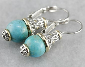Turquoise Drop Earrings, Mix Metal Earrings, Silver and Gold, Bohemian Jewelry K41FWC7M