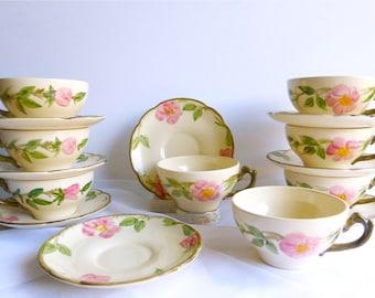 Vintage Franciscan Desert Rose Teacup & Saucer Sets, USA. Pink Rose Teacups, Hand Painted Teacups, Midcentury Tea Ware, California Modern