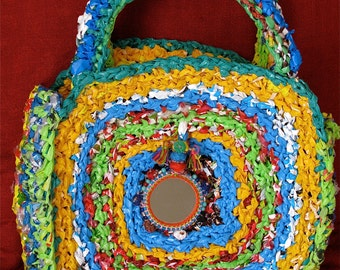 Beach bag or shopping Recycled plastic crocheted bag with India Mirror,Upcycled plastic bag,Multicolor repurposed bag with India mirror